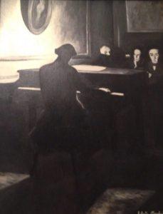 06.Chopin al pianoforte, olio su tela, 1986. Opera privata