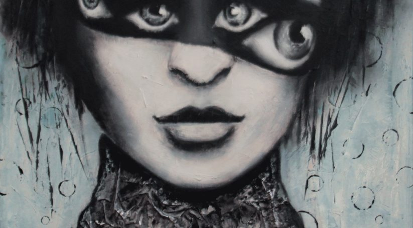 "Giuseppina Irene Groccia - ""Punti di vista"" - Olio e carta su tela 80x80 cm"